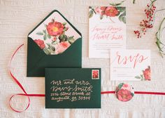 Emerald green and red floral wedding invitations - Rich Red Winter Wedding Inspiration - The Celebration Society