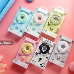 Buy Cute Donuts Macarons Earphones in-ear Stereo Wired Earbuds with mic Earphone Case for Kids iPhone Xiaomi Girls Gifts Cute Headphones, Earbuds With Mic, Photos Folles, Donut Cartoon, Cute Donuts, Earphone Case, Pink And Green, Cool Things To Buy, Ipad