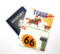 Passport Cover - Passport Holder - Travel Route 66 Fabric - Texas Rodeo Horse by GaranceCouture on Etsy