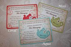 Bridal Tea Party Invitations - Bridal luncheon - Aqua. $33.00, via Etsy.
