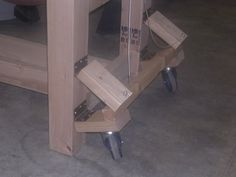 Mobile Assembly Table - Doors and Retractable Casters by Mark Whitsitt… Workbench On Wheels, Mobile Workbench, Workbench Plans, Woodworking Workbench, Woodworking Projects, Homemade Mobile, Mobile Table, Assembly Table, Diy Wood Projects