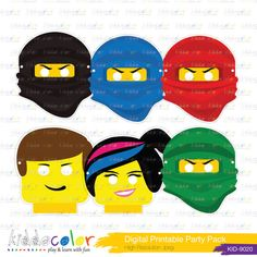 Printable Birthday Game Lego/ Ninjago Mask by kiddocolor on Etsy