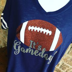 V- Neck It's Gameday Glitter Football T-Shirt, Football Shirt, Football Mom, Football Mom Tee, Football bling Shirt, Gameday Shirt by MamaGlitter on Etsy https://www.etsy.com/listing/271076502/v-neck-its-gameday-glitter-football-t