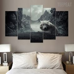 Lone Wolf - 5 Pc Canvas Painting