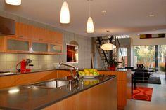 interior design with wooden kitchen