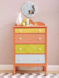 Citrus hues give this highboy a color-block update! http://www.bhg.com/decorating/makeovers/furniture/before-and-after-furniture-makeovers/?socsrc=bhgpin031015vibranthues&page=20