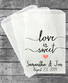 Personalized Wedding Favor Bags - Candy Buffet Bags - Lolly Bags - Sweets Bag -  Popcorn Bags -Bride Groom - Love is Sweet - Day We Say I Do...