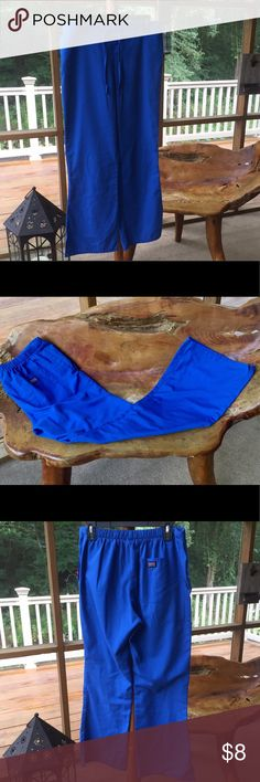 """Royal Blue Cherokee Scrub Pants This is a great pair of Cherokee Scrub Pants.  Unfortunately the tags have been removed.  I THINK these are size small but PLEASE COMPARE these measurements to your own clothing.  These pants have the elastic back and drawstring front.  They measure 16"""" unstretched at waist.  They have a 30"""" inseam and a 10"""" leg opening.  I do not see any issues with these pants.  SMOKE FREE HOME. I love to BUNDLE!!! Cherokee Pants"""