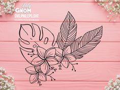 Tropical Leaves, Tropical Flowers, Tropical Colors, Cute Tattoos, Leaf Tattoos, Hawaiin Flowers, Tropical Flower Tattoos, Craft Stickers, Flower Svg