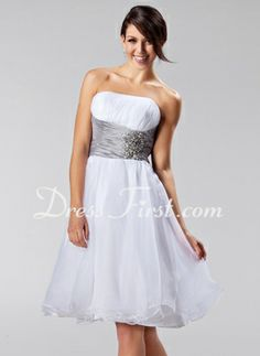 A-Line/Princess Strapless Knee-Length Taffeta Organza Bridesmaid Dress With Ruffle Sash Beading (007005224) - Dress for after the wedding on the cruise