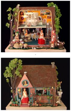 Elsa Mora made this miniature dollhouse from a kit called Sugarplum from www.Miniatures.com. She created the miniature doll house for her daughter to teach her about Frida Kahlo.