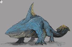 Zamtrios/Zaboazagiru - Monster Hunter Fanart Zamtrios, the Monster Shark Mythical Creatures Art, Alien Creatures, Magical Creatures, Fantasy Creatures, Sea Creatures, Monster Concept Art, Fantasy Monster, Creature Concept Art, Creature Design