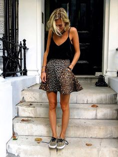 Leopard skirt and snickers. Black top