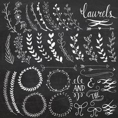 Chalkboard Laurels & Wreaths Clip Art // Hand Drawn Chalk // Ribbon Foliage Leaves Calligraphy // Wedding Invitation // Commercial Use