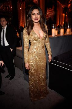 Priyanka Chopra at the Weinstein Company and Netflix Golden Globes after-party.