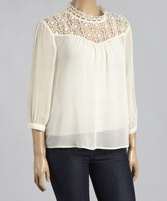Love this Ivory Lace-Yoke Mock Neck Top - Plus by Mine Too on #zulily! #zulilyfinds
