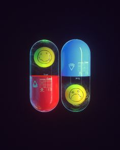 The words 'Pills For Thrills' and an image of a capsule with a smiley inside had been in my head for a while, these are the visuals that came out when translating the thoughts into images. Graphic Design Posters, Graphic Design Inspiration, Photoshop Elementos, Abstract Illustration, Digital Illustration, Foto 3d, 3d Cinema, Pochette Album, Branding