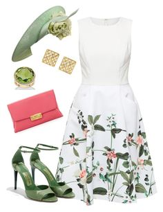 """""""Royal garden party"""" by neeeea ❤ liked on Polyvore featuring Ted Baker, Salvatore Ferragamo, Lanvin, Philip Treacy, Anita Ko and Palm Beach Jewelry"""