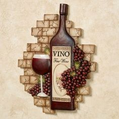 Decorating Kitchen Vino Italiano Wine and Grapes Wall Plaque - Wine Theme Kitchen, Grape Kitchen Decor, Kitchen Themes, Kitchen Ideas, Kitchen Design, Wine Corker, Wine Wall Decor, Wine House, Tuscan Design