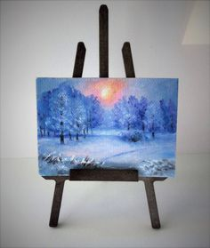 ACEO Winter painting aceo original painting on canvas oil painting miniature painting sunset landscape Christmas painting ATC art card by PicNatArt on Etsy https://www.etsy.com/listing/580745323/aceo-winter-painting-aceo-original