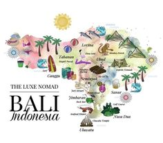 Luxe Nomad Illustrated Bali map. Great, quick overview of the whole island