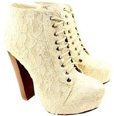 SoYouShoes Women's Lace Ankle Boots (Nude) (UK 3)