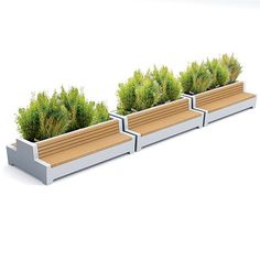 STREETLIFE Solid Love Benches. The Solid Love Benches is also available in a Green Bench edition. Creating inviting seating area's with greenery. Endlessly extendable #StreetFurniture #GreenBench #Love