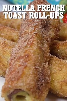 These Nutella French Toast Roll-Ups are quick and easy to make and a fun, finger-friendly treat for breakfast or brunch (silverware optional). And did I mentioned Nutella is involved in this recipe? Quick Dessert Recipes, Brunch Recipes, Baking Recipes, Appetizer Recipes, Breakfast Recipes, French Toast Roll Ups, Nutella French Toast, Yummy Snacks, Delicious Desserts