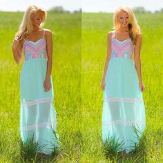 Aqua pink high low dress