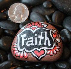 """Painted rock """"Faith"""""""""""
