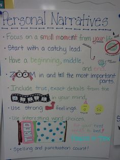 Pass the butter, I've been on a roll lately...making anchor charts.    #1 Personal Narrative     Inspiration                ...