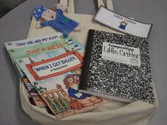 Literacy take home bags with journal.