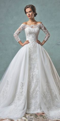 Wedding Ball Gowns By Amelia Sposa Andamp; Ronald Joyce ❤ See more: http://www.weddingforward.com/wedding-ball-gowns/ #weddings