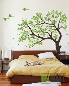 Large Tree vinyl decal, nursery vinyl wall decal, tree wall decal, Vinyl Wall swallows mural, sticker - - decori x muri di casa - Tree Decals, Vinyl Wall Decals, Wall Stickers, Tree Wall Art, Tree Wall Painting, Tree Art, Painting Art, Wall Drawing, My New Room