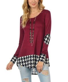 Look at this #zulilyfind! Wine & Black Houndstooth Hi-Low Tunic by Cool Melon made by Goo Yoo #zulilyfinds
