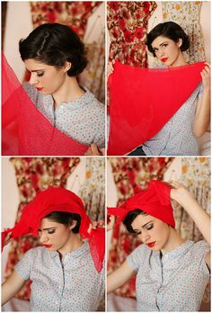 Classic 1950s headscarf tutorial from Alexandra. | ModCloth on Tumblr