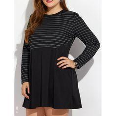 Casual Plus Size Striped Mini Dress