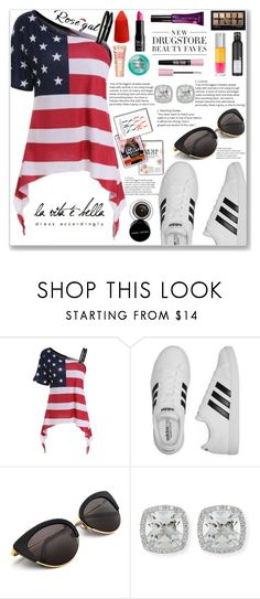 """""""Skew Collar American Flag Print Asymmetrical Tee"""" by gheto-life ❤ liked on Polyvore featuring adidas, Frederic Sage and Bobbi Brown Cosmetics"""