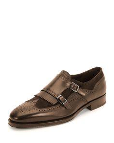 Brown Genuine Leather Monk Brogues Cap Toe Double Buckle Straps Shoes for Men's Black Shoes, Men's Shoes, Shoe Boots, Dress Shoes, Mens Fashion Shoes, Fashion Boots, Derby, Gentleman Shoes, Mens Designer Shoes