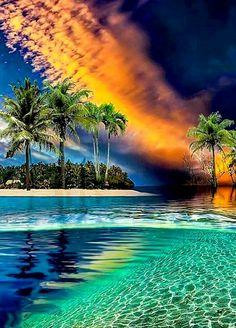 Sunset over Tropical Paradise Beautiful Sunset, Beautiful Beaches, Beautiful World, Scenic Photography, Landscape Photography, Nature Photography, Nature Pictures, Beautiful Pictures, Natur Wallpaper