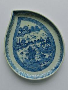 Antique Canton Leaf Plate