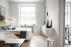 valkoinen,yksiö,makuuhuone,valaisin,yksiön sisustus