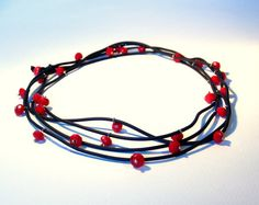 Rubber Necklace with Red Crystals