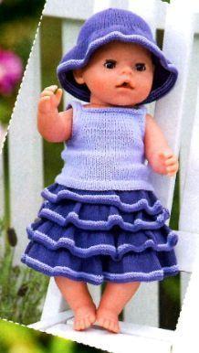 Летний костюм и шляпка для куклы, вязаные спицами. - http://hvastunova.ru/yubka-top-i-shlyapka-dlya-kukly-vyazany-e-spitsami/