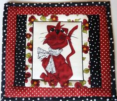 SNACK-MAT-LORALIES-SPICE-CAT-DOTS-n-BOW-PANEL-SQUARE-HOT-MAT-QUILTED-PIECED-fun