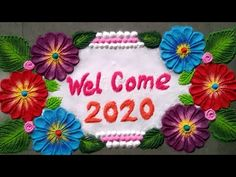 आकर्षक Welcome 2020 रांगोळी(New year special rangoli) Free Hand Rangoli Design, Colorful Rangoli Designs, Rangoli Designs Diwali, Beautiful Rangoli Designs, Welcome Rangoli, Special Rangoli, New Year Special, Small Rangoli, Welcome Baby