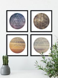 Set of 4 Sacred Geometry Downloadable Art, Earth Air Water and Fire Art, Minimalist Art, Four Elements Wall Art, Yoga art, Spiritual Art