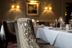 Beautiful studded, velvet dining chairs at the George Hotel, Penrith