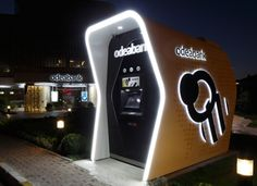 10 Branches Designed To Wow The Digital Banking Consumer Stand Design, Design Case, Booth Design, Bank Interior Design, Vending Machine Business, Exibition Design, Mini Cafe, Glass Pavilion, Container Shop