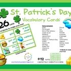 Free! 26 Vocabulary cards for St. Patrick's Day plus 12 extra Leprechaun adjective cards!  Perfect for your word wall, theme wall, centers,..